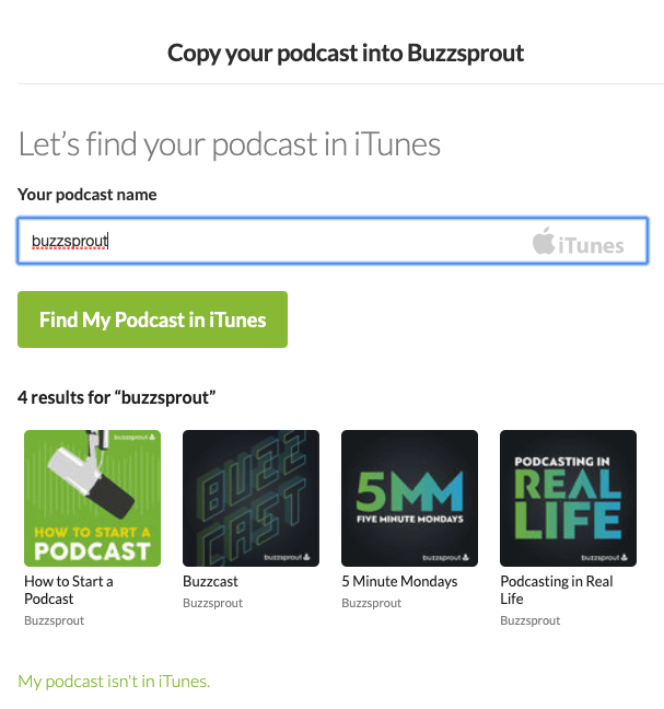 Buzzsprout copy podcast search screen