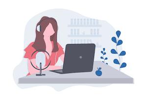 Women podcasting illustration