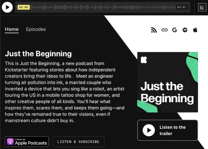 Kickstarter podcast website on Simplecast