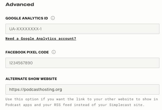 Simplecast website advanced settings (Google Analytics, Facebook Pixel, Website)