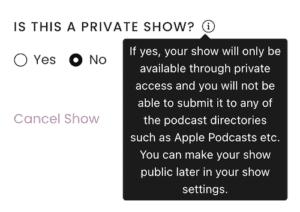 Captivate private podcast info