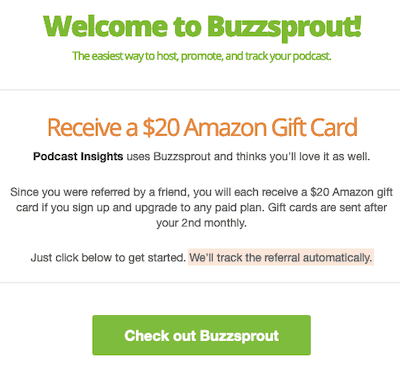 Welcome to Buzzsprout popup showing eligible for free gift card