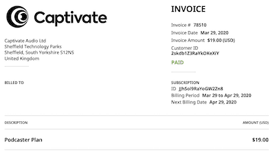 Captivate invoice