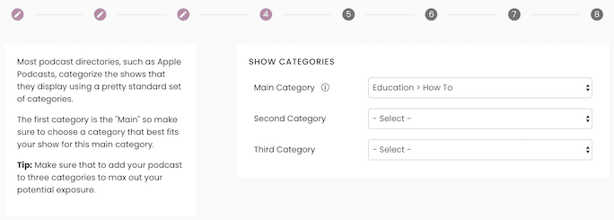 Captivate New Podcast Step 4: Categories